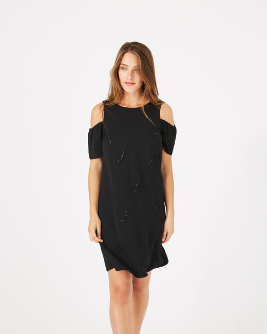 Gypsy black dress with embroidered detailing (2) - 1-2-3