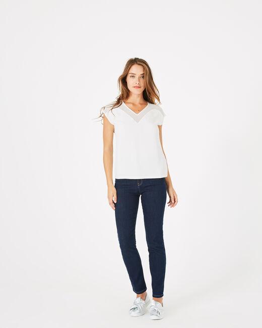 Beryl pale ecru dual-fabric T-shirt (1) - 1-2-3