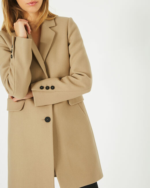 Plume belted camel wool mix coat (1) - 1-2-3