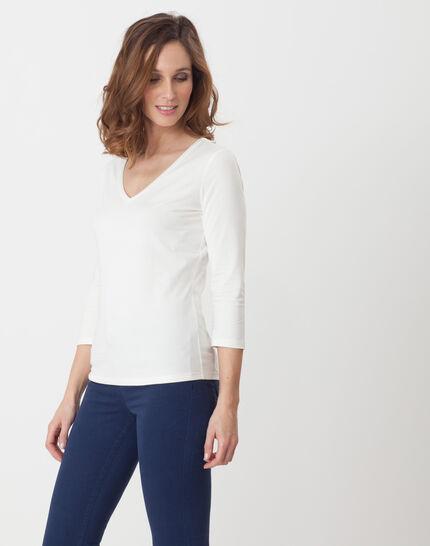 Nacre ecru T-Shirt with 3/4 length sleeves (4) - 1-2-3