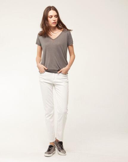 Inès 7/8 length studded white jeans (2) - 1-2-3