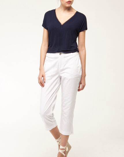 Filibert light white cropped trousers PhotoZ | 1-2-3
