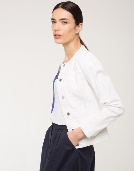 Uma white denim jacket with braided collar (3) - 1-2-3