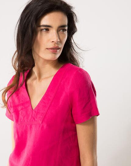 Bisou fuchsia linen dress (4) - 1-2-3