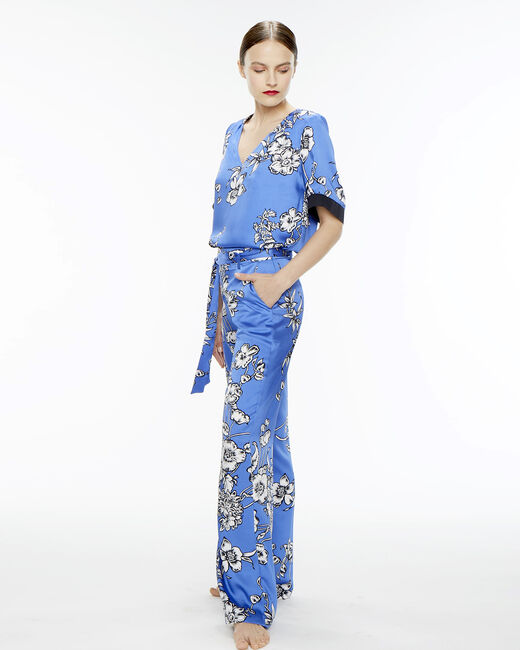 Pantalon bleu imprimé fleuri Deborah (2) - 1-2-3