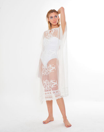 Sophie short white lace kaftan for the beach (3) - 1-2-3