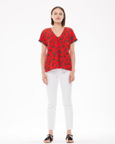Blouse rouge imprimé fleuri Eloge (2) - 1-2-3