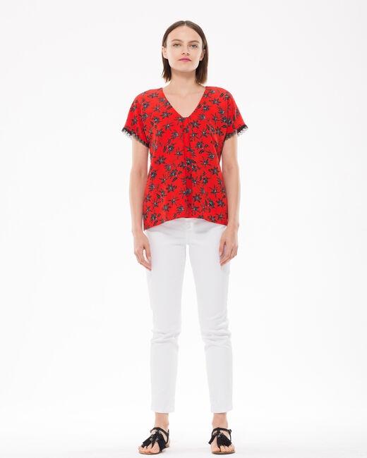 Eloge red blouse with floral print (2) - 1-2-3