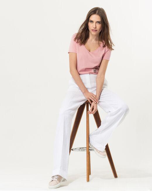 Pantalon large blanc en lin Roller (2) - 1-2-3