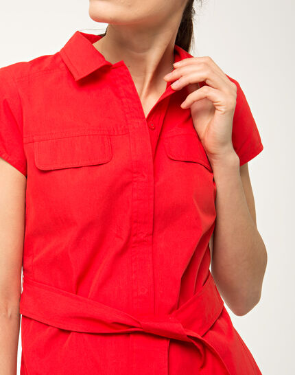 Bogota red cotton shirt-dress (5) - 1-2-3