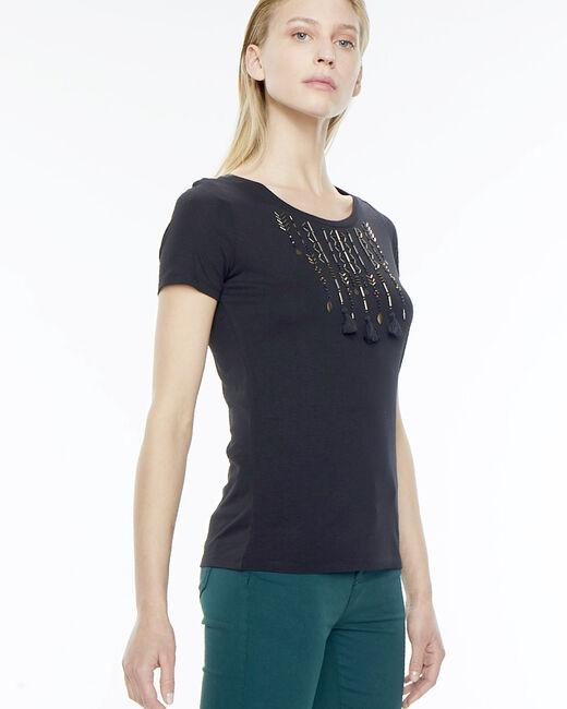 Tee-shirt noir avec broderies Nafricain (2) - 1-2-3