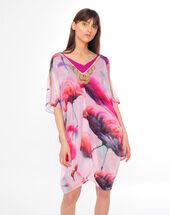 Sacha fuchsia silk kaftan with a flamingo print dark fuchsia.
