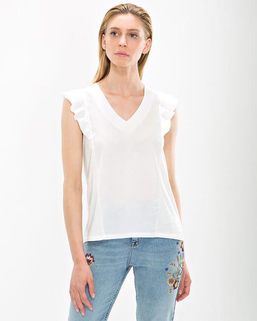 Tee-shirt écru manches volantées Nathalie (2) - 1-2-3