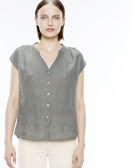 Fiona khaki linen shirt PhotoZ | 1-2-3