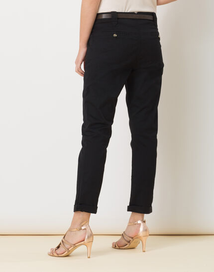 Diane black 7/8 length tapered trousers with belt (4) - 1-2-3