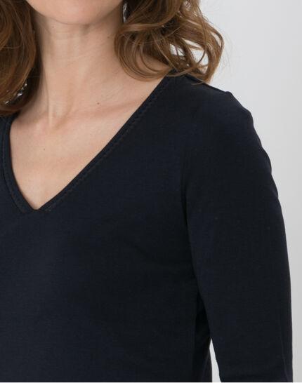 Noria navy blue T-shirt with embroidered neckline (6) - 1-2-3