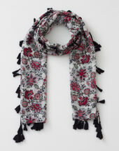 Salvia floral print scarf dark red.