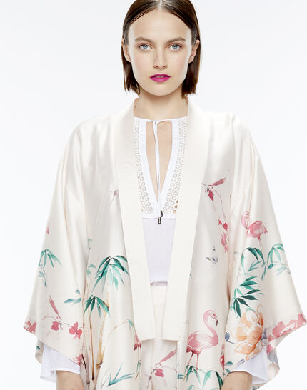 Kimono long rose imprimé Ukao PhotoZ | 1-2-3