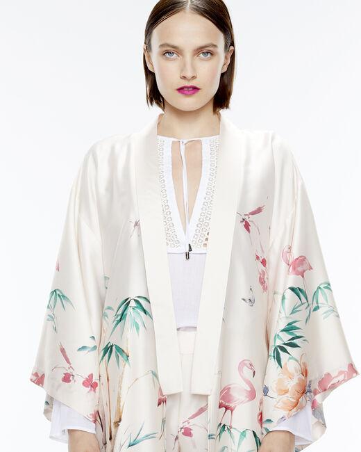 Kimono long rose imprimé Ukao (2) - 1-2-3