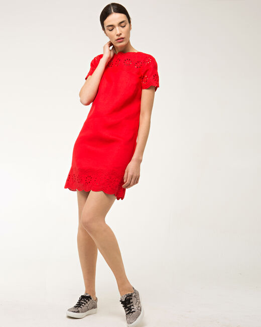 Ballade red embroidered dress in linen (1) - 1-2-3