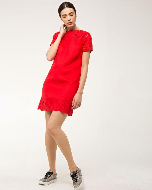 Robe rouge brodée en lin Ballade (1) - 1-2-3