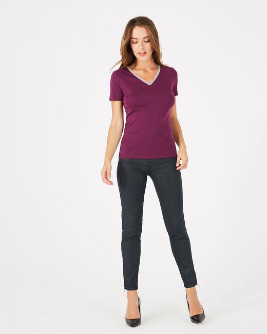 Neck blackcurrant T-Shirt with diamanté neckline (1) - 1-2-3