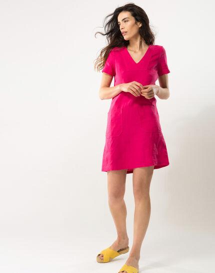 Bisou fuchsia linen dress (2) - 1-2-3