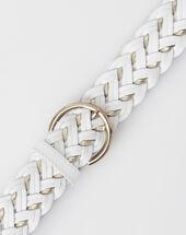 Yoni white braided leather belt white.