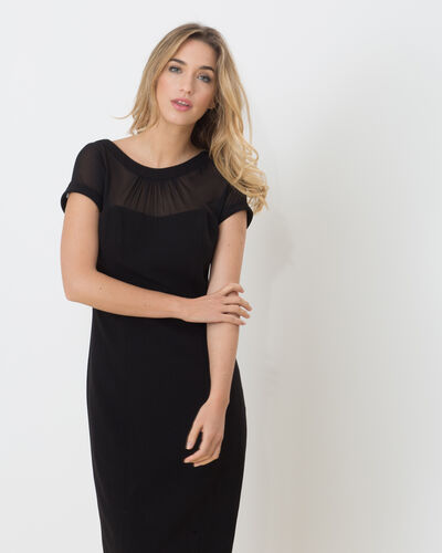 Frieda dual-fabric black dress (2) - 1-2-3