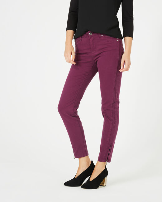 Pia blackcurrant 7/8 length satin trousers (2) - 1-2-3