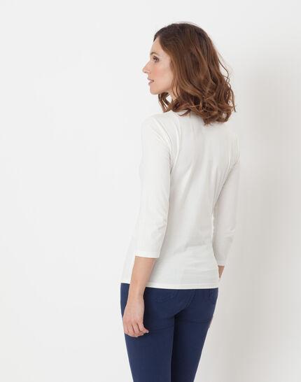 Nacre ecru T-Shirt with 3/4 length sleeves (3) - 1-2-3