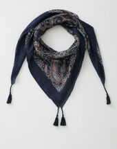 Sabin navy blue printed scarf navy.