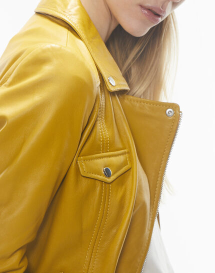 Gabriel yellow biker-style leather jacket (5) - 1-2-3