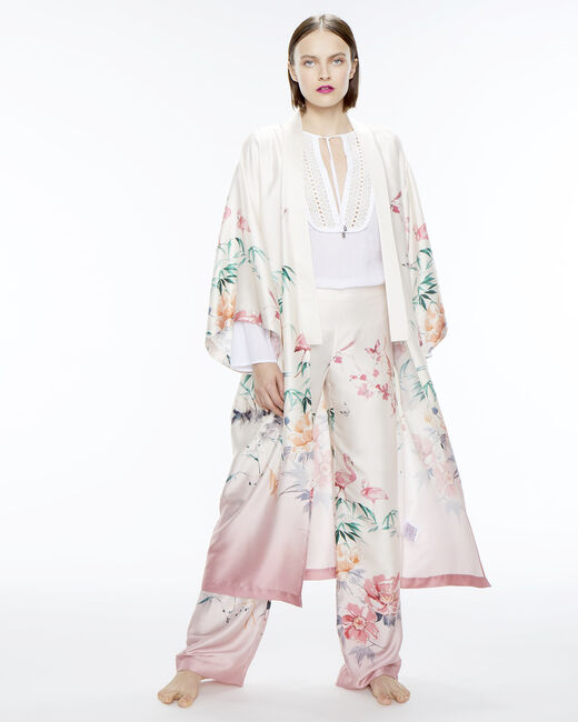 Kimono long rose imprimé Ukao (1) - 1-2-3