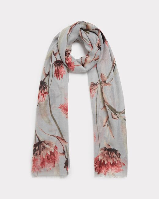 Essia pale grey scarf with floral print (2) - 1-2-3
