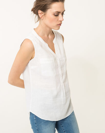 Elise ecru linen sleeveless blouse  (3) - 1-2-3
