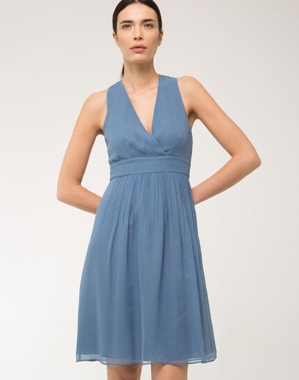 Florane blue silk dress with jewelled back PhotoZ   1-2-3