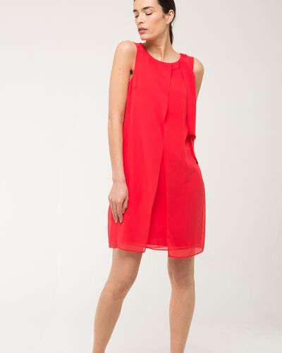 Fanny orange dress in silk with bow on the shoulder (2) - 1-2-3