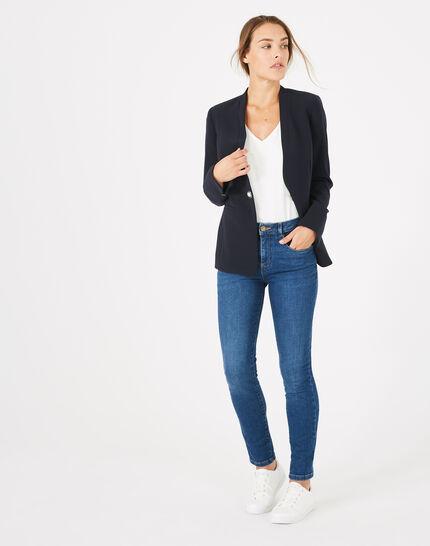 Majeste navy blue mid-length tailored jacket (2) - 1-2-3