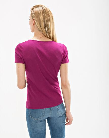 Tee-shirt fuchsia col strass Nirvana (4) - 1-2-3