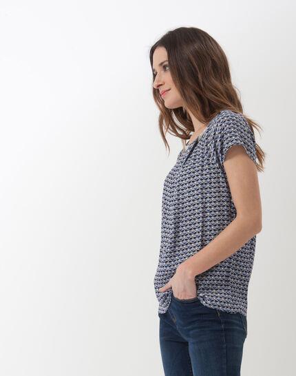 Emeraude blue printed blouse (3) - 1-2-3