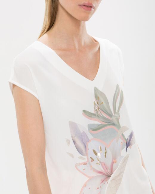 Tee-shirt écru imprimé fleurs Ninon (2) - 1-2-3