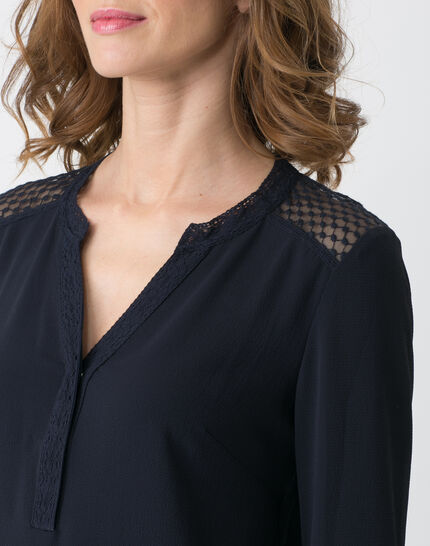 Edita navy blue shirt with lace (2) - 1-2-3
