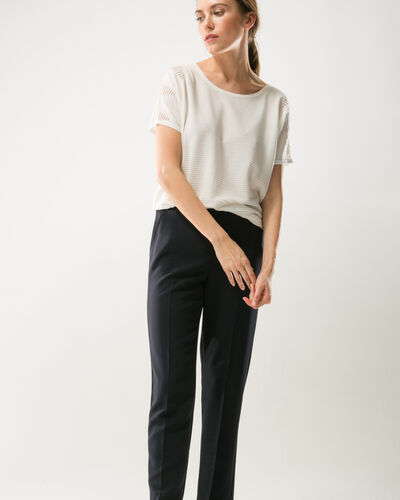 Lara navy blue slim-cut tailored trousers (1) - 1-2-3