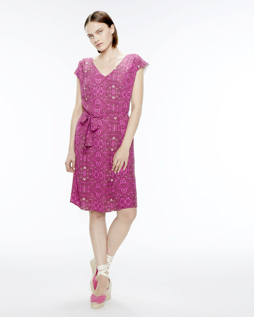 Ontario fuchsia printed dress (1) - 1-2-3