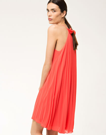 Fidele orange pleated dress (4) - 1-2-3