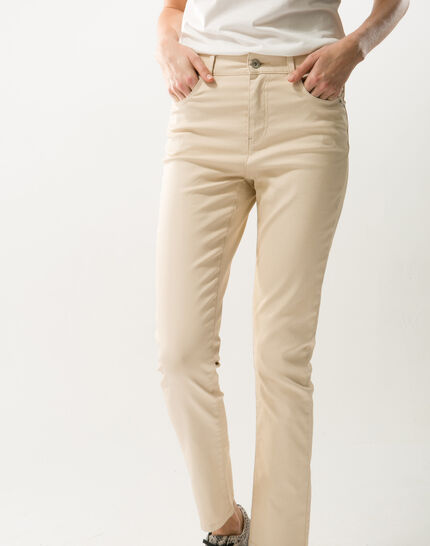 Oliver beige shiny coated 7/8 length trousers (2) - 1-2-3