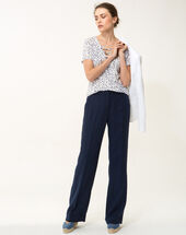 Roller navy blue wide-cut linen trousers navy.