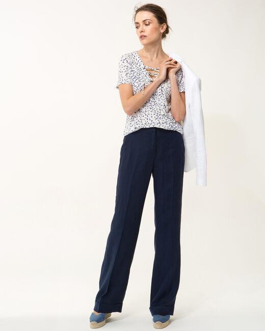 Pantalon large bleu marine en lin Roller (2) - 1-2-3