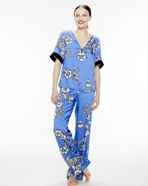 Blouse bleue imprimé fleuri Eclat (1) - 1-2-3